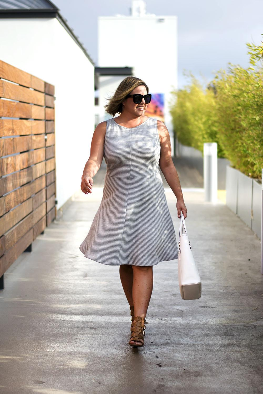 Work Outfit Los Angeles Fashion Street Style Blogger Personal Stylist LOFT Ribbed A Line Dress
