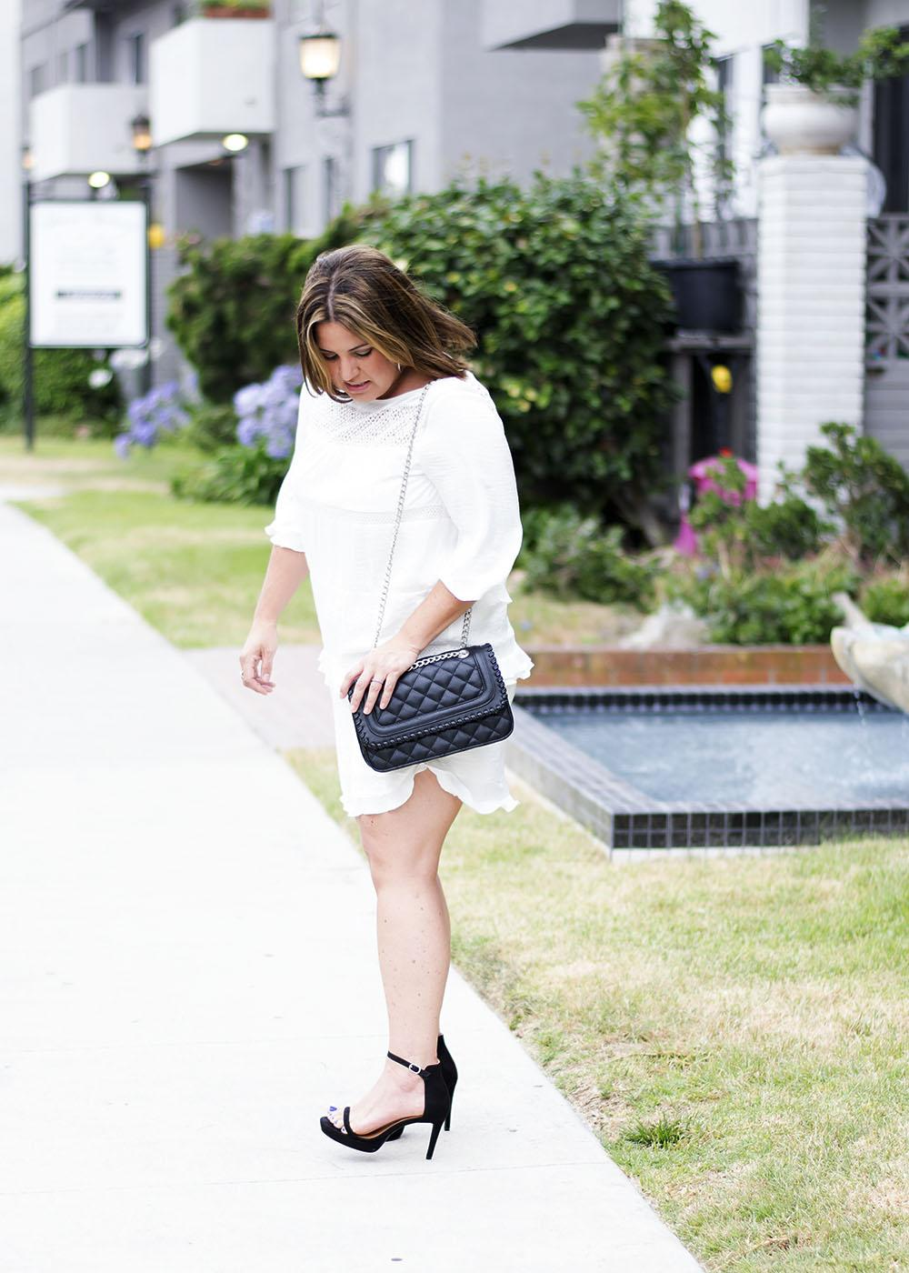 Dressy Outfit Los Angeles Fashion Street Style Blogger Personal Stylist White Ruffled Dress Who What Wear for Target 0599