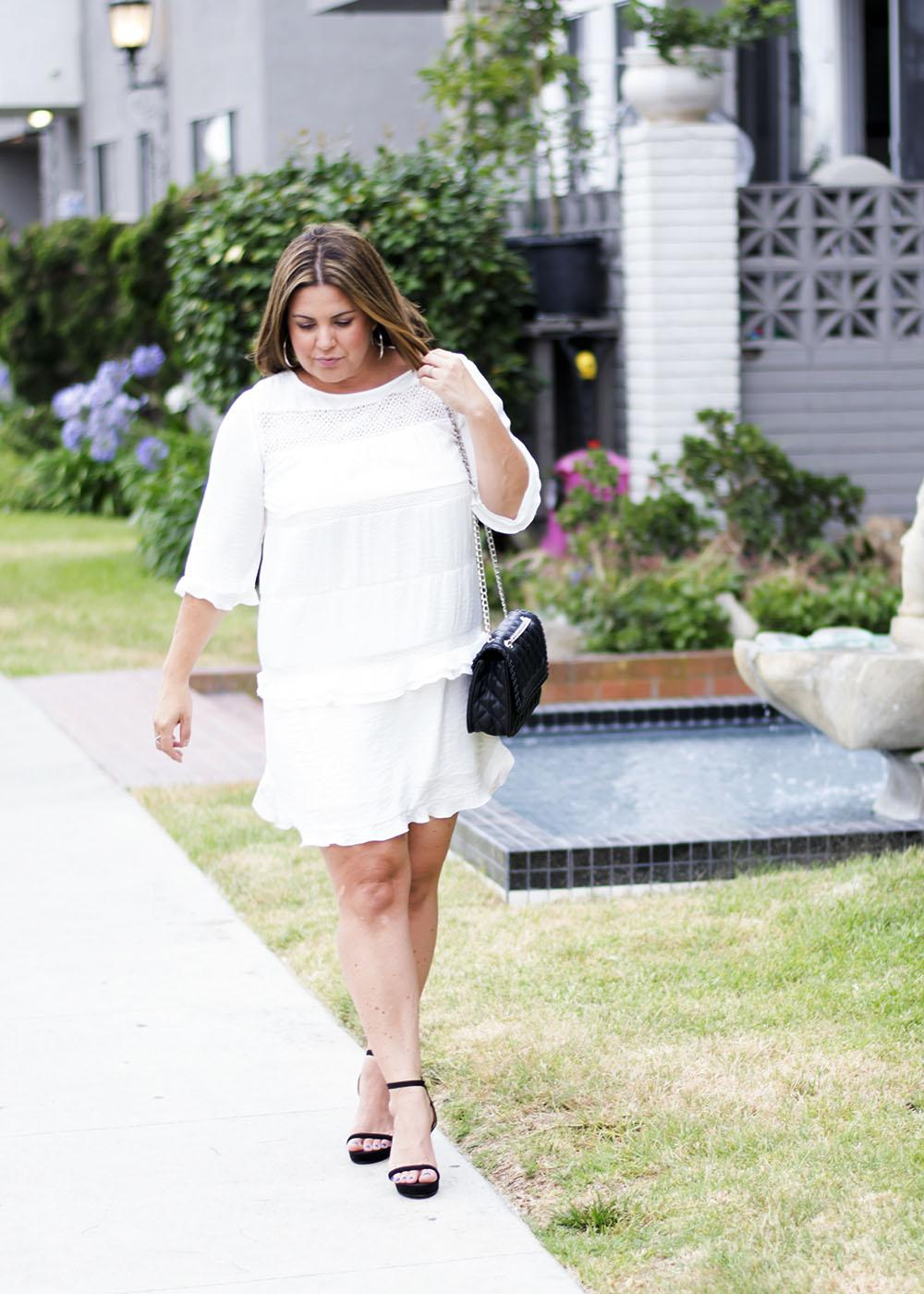 Dressy Outfit Los Angeles Fashion Street Style Blogger Personal Stylist White Ruffled Dress Who What Wear 0584