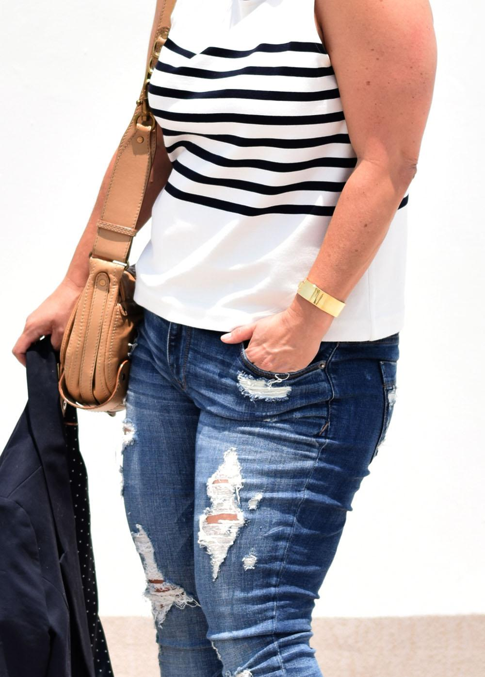 Casual Outfit Los Angeles Fashion Street Style Blogger Personal Stylist Ann Taylor Striped Top