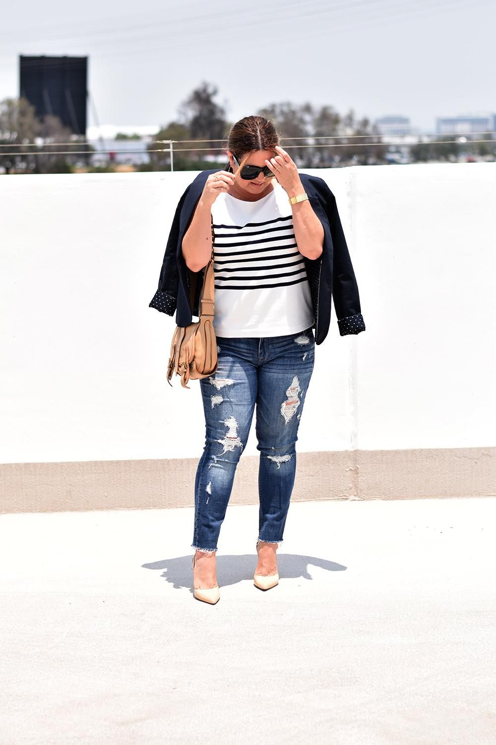 Casual Outfit Los Angeles Fashion Street Style Blogger Personal Stylist Express Destroyed Jeans Denim