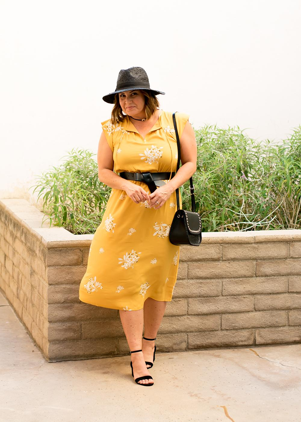 Casual-Outfit-Los-Angeles-Fashion-Street-Style-Blogger-Personal-Stylist-LOFT-Marigold-Midi-Dress-544