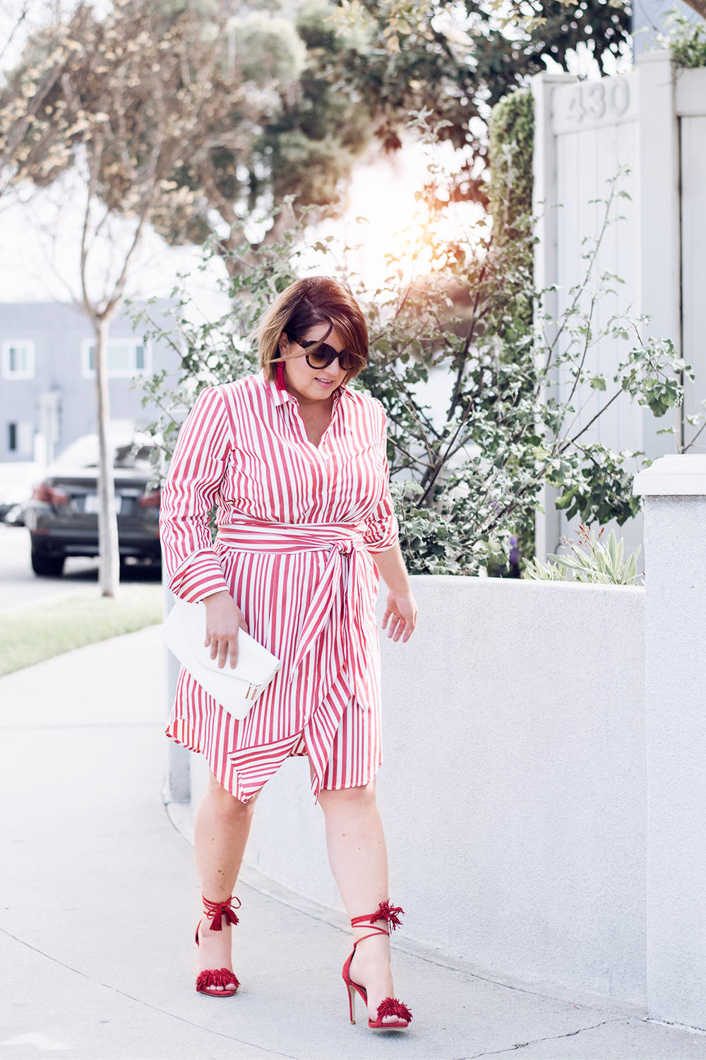 Red Stripes for Summer Striped Red Dress Who What Wear Street Style Looks to Copy in 2018 Barefoot in LA Fashion Blog Style Ideas Outfits0135