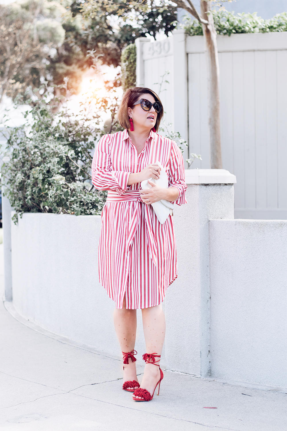 Red Stripes for Summer Striped Red Dress Who What Wear Street Style Looks to Copy in 2018 Barefoot in LA Fashion Blog Style Ideas Outfits0145