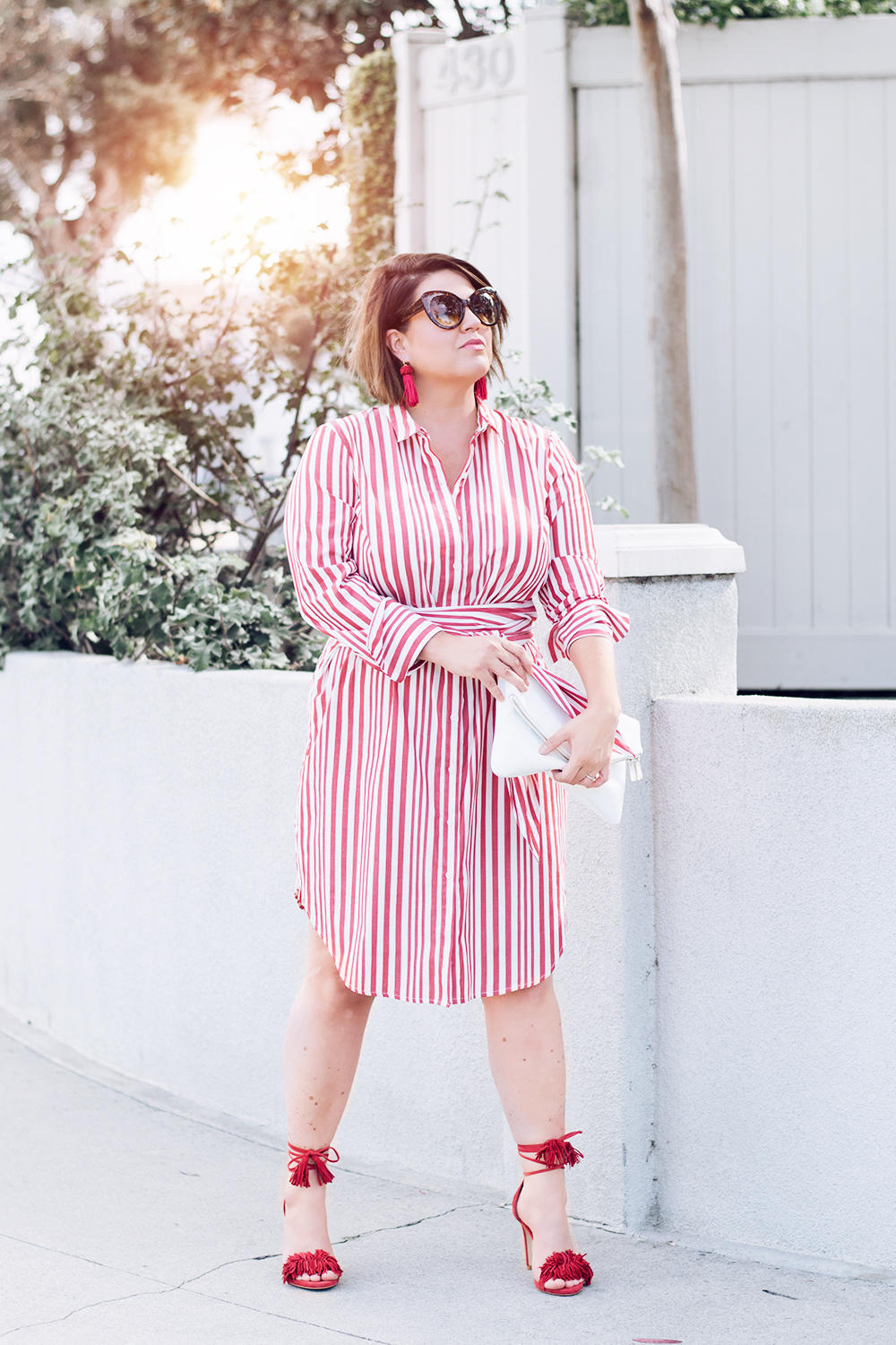 Red Stripes for Summer Striped Red Dress Who What Wear Street Style Looks to Copy in 2018 Barefoot in LA Fashion Blog Style Ideas Outfits0171