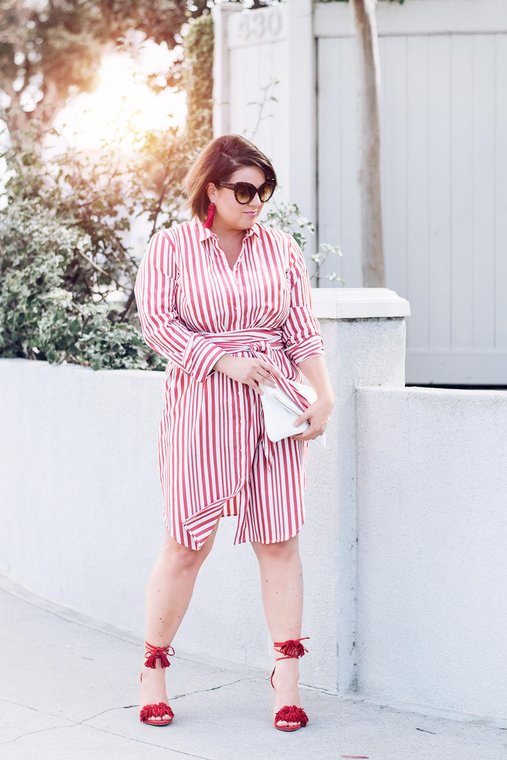 Red Stripes for Summer Striped Red Dress Who What Wear Street Style Looks to Copy in 2018 Barefoot in LA Fashion Blog Style Ideas Outfits0173