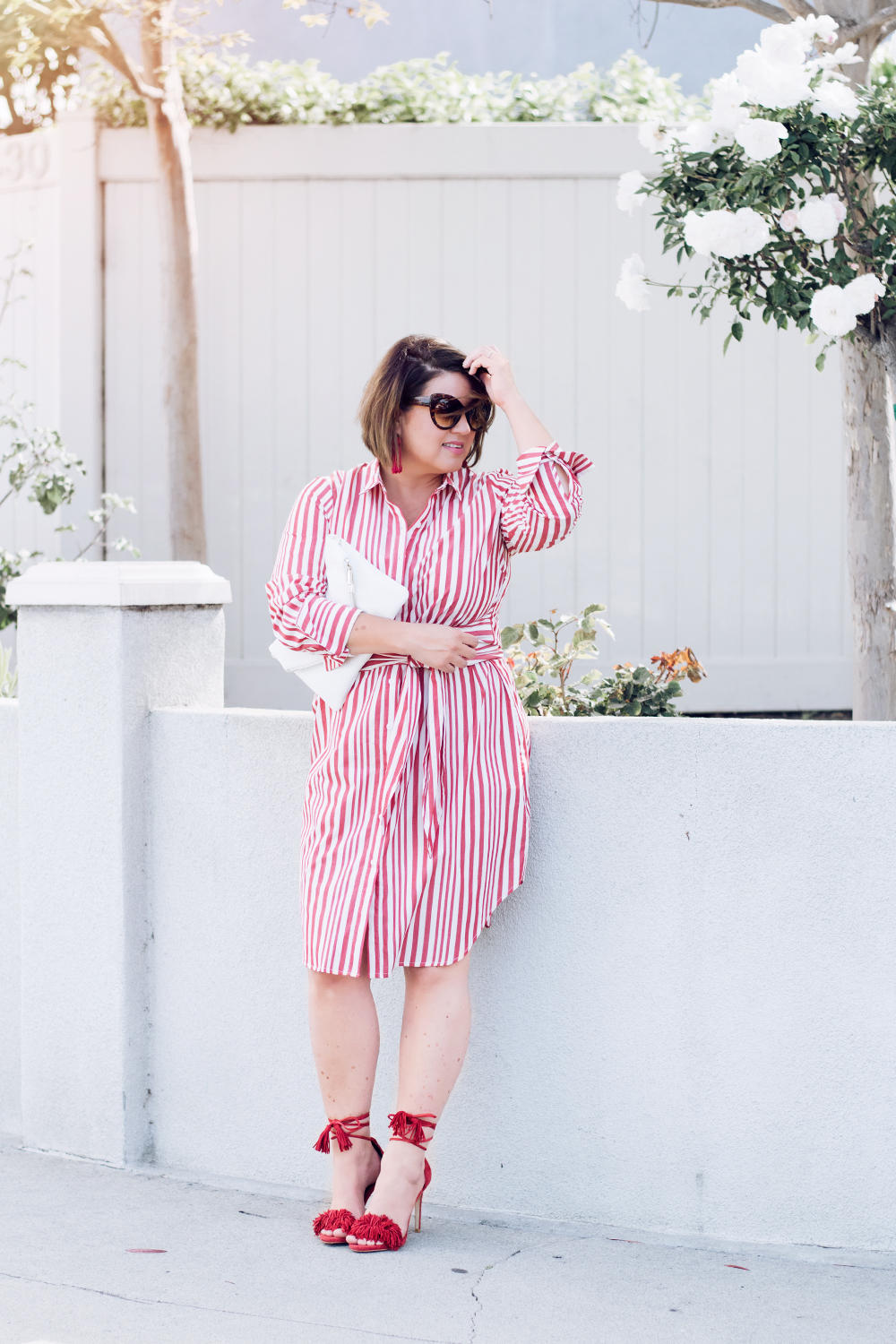 Red Stripes for Summer Striped Red Dress Who What Wear Street Style Looks to Copy in 2018 Barefoot in LA Fashion Blog Style Ideas Outfits0188